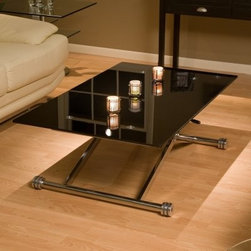 Adjustable Height Glass Coffee Table - Coffee tables can be used to set drinks rest your feet play a board game or have an authentic Japanese sit down meal. The Chintaly Imports Adjustable Height Glass Coffee Table makes it easier for you to satisfy all these needs by adjusting to the perfect height in each circumstance. A generously sized rectangular tempered black glass top provides plenty of surface area in a sleek modern style that will add sophistication to your existing contemporary decor. The top sits on an X shaped chrome base that easily adjust from 12 inches high to 28 inches high depending on your needs. Round feet make the table easy to adjust while a locking mechanism keeps the table at the desired height.About ChintalyBased in Farmingdale NY Chintaly Imports is an importer of casual dining and leather upholstery. They offer a variety of products from bar stools to curio cabinets and are known for their innovative contemporary designs.