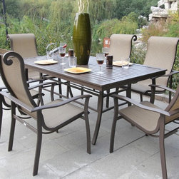 Bellini - Canberra 7-piece Outdoor Dining Set - Enjoy warm summer nights or sunny spring days with this contemporary patio set. This sturdy set is finished in a stylish brown and includes weather and UV protection, allowing you to enjoy the great outdoors for years to come.