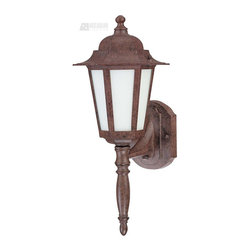 Satco - Satco Cornerstone ES Energy Efficient Traditional Outdoor Wall Sconce with Photo - You can't make a mistake when decorating with this Nuvo Lighting Cornerstone ES Energy Efficient Traditional Outdoor Wall Sconce with Photocell. This energy-saving fixture has a crisp and clean appearance, with its frame in a rich and warm, old bronze finish, long finial and panels of frosted glass. It's sure to diffuse a soft and pleasant glow of light in most any outdoor space.