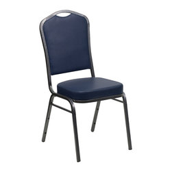 Flash Furniture - Flash Furniture Hercules Series Crown Back Stacking Banquet Chair - This is one tough chair that will withstand the rigors of time. With a frame that will hold in excess of 500 lbs., the Hercules series banquet chair is one of the strongest banquet chairs on the market. You can make use of banquet chairs for many kinds of occasions. This banquet chair can be used in church, banquet halls, wedding ceremonies, training rooms, conference meetings, hotels, conventions, schools and any other gathering for practical seating arrangements. The banquet chair is also great for home usage from small to large gatherings. For any environment that you use a banquet chair it will put your guests at a greater comfort level with the padded seat and back. Another advantage is the stacking capability that allows you to move the chairs out of the way when not in use. With offerings of comfort and durability, you can be assured that you can enjoy this elegant stacking banquet chair for years to come. [FD-C01-SILVERVEIN-NY-VY-GG]