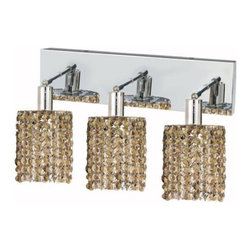 "PWG Lighting / Lighting By Pecaso - Wiatt 3-Light 14.5"" Crystal Vanity Fixture 1091W-O-R-GT-SS - Whether shown individually or as a collection, our Mini Crystal Chandeliers are stunning in any fashion. This stylish collection offers stunning crystal in a range of colorful options to suit every decor."