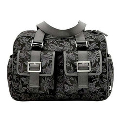 Charcoal/ Black Floral Jacquard Carry All Diaper Bag by OiOi Baby Bags - This Carry All design is large enough for use as a weekender yet compact enough for everyday a very versatile design.