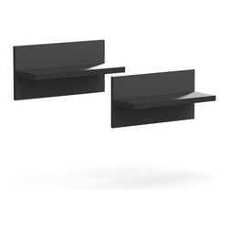 Nexera - Nexera Sereni-T Floating Shelves, Set of 2 - Sereni-T Floating Shelves from Nexera are sold in pair (2) and are easy to install. Add them to your current home decor or pair them with other Sereni-T items to add decorative storage to your living room and office areas. Sereni-T Collection is entirely modular and offers unlimited mix and match possibilities to create your own perfect entertainment or home office room settings. It is offered in a modern black melamine finish with elegant Ebony accents.