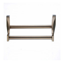 Top Knobs - Top Knobs: Aqua Bath 18 Inch Double Towel Rod - Brushed Bronze - Top Knobs: Aqua Bath 18 Inch Double Towel Rod - Brushed Bronze