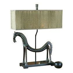 Uttermost - Billy Moon Tamil Horse Table Lamp - Designer: Billy Moon. 24 in. W x 8 in. D x 30 in. HThis creative horse lamp is finished in an olive bronze with a verdigris glaze. The rectangle box shade is pleated silken champagne.