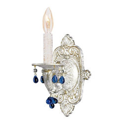 Crystorama - Crystorama Sutton Wall Sconce in Antique White - Shown in picture: Sutton Collection Natural Wrought Iron Wall Sconce Accented with Murrano Crystal; Sutton Collection's Antique White finish has a distressed gold brush strokes. This Paris Flea look is timeless and whimsical.