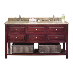 None - Ove Decors Danny 60-inch Bath Vanity with Solid Wood Construction and Granite Co - The Danny 60 double bath vanity has a sleek versatile style that accommodates any decor. This item has an open style allowing you to personalize a look you prefer.