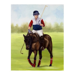 "Trademark Global - Giclee Print on Canvas of Horse of Sport VIII - Giclee on canvas. Ready to Hang Wall Art. Professionally mounted on a lightweight wooden frame. 36 in. W x 48 in. H x 1. 5 in. depthGiclee (jee-clay) is an advanced printmaking process for creating high quality fine art reproductions. The attainable excellence that Giclee printmaking affords makes the reproduction virtually indistinguishable from the original artwork. The result is wide acceptance of Giclee by galleries, museums, and private collectors.Now you can experience all the passion and spirit of Michelle Moate's atmospheric artwork. ""Horse of Sport VIII"" will add life to any home or office decor.Born in Pensacola, Florida in 1970, Ellen King's (now known as Michelle Moate) artistic talent began to reveal itself in the form of drawing at an early age. She studied art and psychology at Wesleyan College in Macon, and later at Oglethorpe University in Atlanta. From there her interests turned toward computer art forms, which led her to attend the Art Institute of Atlanta and the Atlanta College of Art. After studying mostly computer animation, her need to express herself through paint and charcoal intensified. She began painting for the art market in 1997, and before her return to Florida, she gained notoriety within the Atlanta area as a premier local artist. She was also nominated for national recognition through the Academy of Fine Art Foundation's fine arts award program in 2002. She has consistently donated art for various charities, and has attended art shows throughout the southeast, as well as Art Expo New York in 1998, 1999, and 2002.Ellen's work evokes a mood of warmth and passion through the colors of her palette. From horses to wine, her art demonstrates her own personal connection with the subjects. Her overall style is impressionistic, and sometimes a few contemporary mediums are added to enliven the compositions and give them more pizazz. Ellen states: ""I took on the role as artist to appease the desire within my soul, which is to create art that allows me to lose myself in the images, as well as captivate my audience. "" Her success as an artist is attributed to her loyal clients and frequent public appearances. Ellen enjoys speaking with people about her art in local town squares, and in restaurants where she frequently sets up her easel to paint. She says, ""Painting outdoors or on location is a great way to get inspired and share my ability and knowledge of art with others. People love to watch me paint; they are immediately captivated and will express their interest in art or how the image I'm working on effects them. The experience is very rewarding. ""Ellen paints at her home-based studio in Okeechobee, Florida, where she constantly brings new ideas to life."