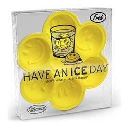 Fred & Friends - Have an Ice Day Ice Tray - There are 7 chances to spread happiness in this hyper-friendly, reusable ice tray. It's the classic cool symbol that never fails to turn a frown upside down. So...Have an Ice Day! Clear peggable recyclable gift boxes.