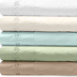 Grand Luxe - Grand Luxe 300 Thread Count Egyptian Cotton Sateen Sheet Set with Chenille Embro - Relax in comfort with the Grand Luxe 300 thread count Egyptian cotton sateen sheet set. This wonderful collection features a gorgeous scroll chenille embroidered design and is available in a  variety of colors.