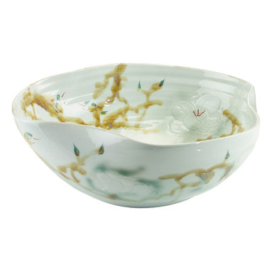 John Richard - John Richard Curled Rim Large Bowl In Greens JRA-9022 - A curled rim large porcelain bowl is glazed in greens and yellows.