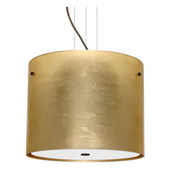 Besa Lighting - Besa Lighting 1KV-4007GF-LED Tamburo 3 Light LED Cable-Hung Pendant - Tamburo is a classic open-ended cylinder of handcrafted glass, a shape that will stand the test of time. Our Gold Foil glass is sparkling and metallic. Distressed metal foil is applied to the inner surface of a glossy clear blown glass. This decor is full of textured and depth, however the outer surface of the glass is smooth. When lit the glass comes to life, as the distressed foil allows glimpses of light to pass through. This blown glass is handcrafted by a skilled artisan, utilizing century-old techniques passed down from generation to generation. Each piece of this decor has its own artistic nature that can be individually appreciated. The cable pendant fixture is equipped with three (3) 10' silver aircraft cables and 10' AWM cordset, and a low profile flat monopoint canopy.Features: