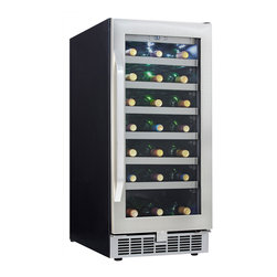 Danby - 34 Bottle Built-in Wine Cooler, Lowe Tempered Glass Door Silhouette - Danby's DWC93BLSST 34 Bottle Silhouette Select Built-in Wine Cooler integrates seamlessly into surrounding kitchen cabinetry with its slim 15-inch width and elegant stainless steel door with matching handle and toe kick. The wine refrigerator holds up to 34 bottles of wine on stainless steel trimmed wood shelves and features a digital thermostat with an LED display. A white LED track lighting system illuminates the interior without the heat of an incandescent light and creates a beautiful display behind the tempered glass door.