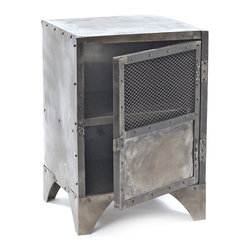 Kathy Kuo Home - Vintage Industrial Steel Shoe Locker End Table - Put this piece on lock! A handsome footed end table and storage locker in one, its classic enough to suit any space but is ideal if you live in a smaller quarters, where multipurpose pieces are prized.