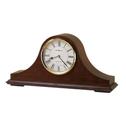 HOWARD MILLER - Howard Miller Christopher Tambour-Style Mantel Clock - The off-white dial offers a convex glass crystal, polished brass finished bezel, black Roman numerals and brass second hand.