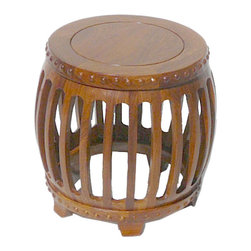 Golden Lotus - Chinese Rosewood Hand Made Round Child Stool Flower Stand - This is a Chinese round stool which is made of rose wood which is also called HuaLi Mu in China. It can be also used as child stool or flower stand.