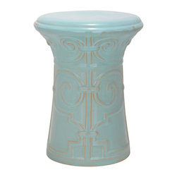 Safavieh - Bari Garden Stool - Adapted from an ancient Chinese palace gate, the motif of theBari Garden Stool conjures images of meditation perches in serene Asian gardens. Crafted of high fired ceramic with light aqua glaze, this versatile piece can be used as extra seating, a side table or plant stand indoors or out.