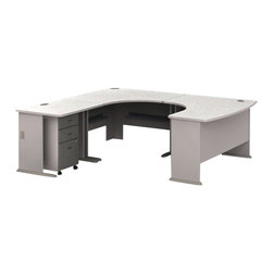 BBF - Bush Series A 4-Piece U-Shape Left-Hand Corner Computer Desk in Pewter - Bush - Office Sets - WC14566PKG1 - Bush Series A 3 Drawer Vertical Mobile Filing Storage Cabinet in White Spectrum and Pewter (included quantity: 1) Put your files in good hands with the Bush Series A Collection Three Drawer File Cabinet, a subtle solution which fits easily under virtually any desk. This classy filing cabinet stands nicely on its own and will excellently complement other Bush Furniture pieces.  Features: