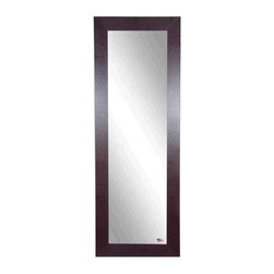 Rayne Mirrors - American Made Brown Leather 21.5 x 60.5 Slender Body Mirror - This warm, contemporary leather tall mirror makes a wonderful home decor accent. This design features a rectangle frame with a dark brown leather finish.  Each Rayne mirror is hand crafted and made to order with American products.  All hardware included for vertical or horizontal hanging, or perfect to lean against a wall.