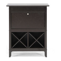 Wholesale Interiors - Baxton Studio Tuscany Modern Wine Cabinet - This handsome little wine cabinet makes impromptu guests or celebrations a breeze! Use the top to display decor or bottles of spirits and then slide the two panels apart to reveal an open compartment for storage of any other necessities.