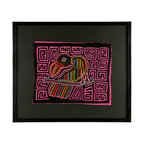 "Salvatecture Studio - Vintage Framed Panama Kuna Mola ""Pink Parrot"" Wall Art - Kuna women spend hours making intricately patterned molas — a reverse appliqué technique that can incorporate up to seven layers of fabric, then cut and stitched together. Add some artistic color to your walls with this framed vintage mola that's been mounted on black mat board, set behind plexiglass and inside a black wood frame."