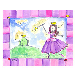 "Oh How Cute Kids by Serena Bowman - Wishes And Kisses, Ready To Hang Canvas Kid's Wall Decor, 16 X 20 - The one that started my princess series.  I never even how complex their story was.  The series goes with 1) Wishing Star ( she makes the wish) 2) ""AS LUCK WOULD HAVE IT"" she loses her show 3) Wishes and Kisses  ( well you know)  4) ""Happily ever after   There is also 5) Going to the Ball.  I hope you enjoy this series as much as I do.  You can buy one or all five ( sold separately) for easy room decor!"