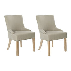 Safavieh - Safavieh Lotus Kd Side Chair X-2TES-J0074RCM Set of 2 - Straight, angular lines and simple details distinguish the padded Lotus KD side chair, in grey fabric with espresso finished legs.