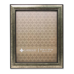 Lawrence Frames - 8x10 Domed Burnished Silver and Black Picture Frame - High quality black and champagne domed composite picture frame.  Beautifully finished picture frame that will be a great decorative addition to any room.  Comes with a two way easel for vertical or horizontal table top display, and hangers for vertical or horizontal wall mounting.  High quality black velvet backing.  Picture frame comes with glass to protect your photo, and is individually boxed.