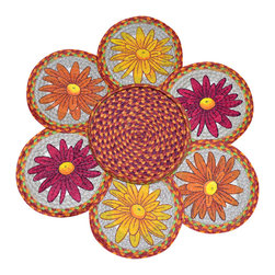 Earth Rugs - Mums Round Trivets in a Basket (Set of 7) - Our Jute products are crafted with sustainably harvested jute, a fast-growing, renewable natural fiber. The jute is then hand braided into unique patterns.