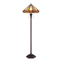 "Quoizel - Arts and Crafts - Mission Quoizel Burton Russet Tiffany Style Floor Lamp - The Bryant floor lamp from Quoizel features a slender column base in a russet finish with a handsome decorative accent at the neck. Up top sits a Tiffany-style shade made from 264 pieces of art glass in neutral tones and a linked design. The art glass shade is hand-assembled using the same copper foil method developed by Louis Comfort Tiffany. A charming decor accent that will brighten your living space in classic Craftsman style. Tiffany style floor lamp. Resin and art glass construction. Russet finish. Glass count 264 pieces. Takes two 100 watt medium base bulbs (not included). 60"" high. Shade is 18"" round.  Tiffany style floor lamp.  Cast resin and art glass construction.  Russet finish.  Glass count 264 pieces.  Takes two 100 watt medium base bulbs (not included).  60"" high.  Shade is 18"" round."
