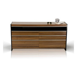 Quiet Storm 8-Drawer Dresser - Mid-century modern stylings and clean-cut lines work together to give your home the Quiet Storm 8-Drawer Dresser. With quiet sliding drawers and strong craftsmanship, this dresser gives any bedroom loads of storage space and style.