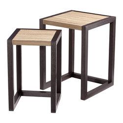 Cyan Design - Cyan Design 06792 Oak Veneer & Black Veneer Becket Nesting Tables - Cyan Design 06792 Oak Veneer & Black Veneer Becket Nesting Tables