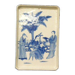Golden Lotus - Chinese Color Scenery Porcelain Rectangular Tray Plate B&W Tree - This is a decorative tray shape plate in rectangular shape. The surface is handpainted with oriental scenery.
