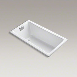 """KOHLER - KOHLER Tea-for-Two(R) 60"""" x 32"""" drop-in bath with reversible drain - Combining distinctive KOHLER styling with versatile installation options, the Tea-for-Two bath is our only two-person bath that fits into a standard 5' alcove. This model is constructed of durable KOHLER(R) Cast Iron and offers a drop-in, three-wall alcov"""