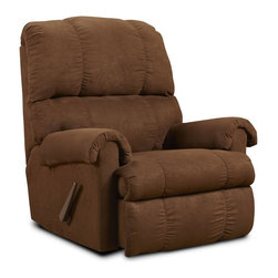 Chelsea Home - Rocker Recliner in Flatsuede Chocolate Fabric - Seating comfort: Medium. Kiln dried and crafted of hardwood and cross banded plywood. Precisely assembled with block and staples. Seat cushion is attached. Seat back cushion is attached. Seat cushion is not reversible. No sag steel springs that are tied with insulated border wire for uniform seating. Padded with a polyester pad over the springs. Made from polyester and kiln dried hardwood. Made in USA. No assembly required. 36 in. W x 36 in. D x 40 in. H (100 lbs.)