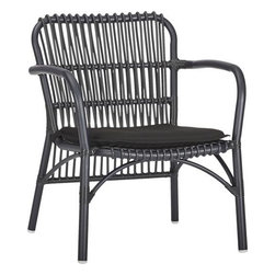 Kruger Black Lounge Chair with Sunbrella® Black Cushion - Safari casual tracks contemporary in bamboo-inspired lattice design handwoven of s sleek black resin wicker over powdercoated aluminum. Lightweight chair is perfectly scaled for small sunrooms, patios or porches. Easy-care Sunbrella® acrylic matching cushion is fade-, water- and mildew-resistant.