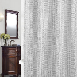 None - Cane Grey Geometric Shower Curtain - Keep water from dripping all over your floor with this modern shower curtain. This pretty polyester curtain has a simple yet elegant design that lends a sophisticated touch to any bathroom. The durable shower curtain is machine washable.