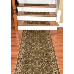 """Dean Flooring Company - Dean Premium Carpet Stair Tread Rugs and 5' Runner - Elegant Keshan Sage 31"""" W - Dean Premium Carpet Stair Tread Rugs and 5' Runner - Elegant Keshan Sage 31"""" W : Premium Carpet Stair Tread Rugs  PLUS a Matching 5' Runner   by Dean Flooring Company   Color: Elegant Keshan Sage   Face: 100% Heat-Set Polypropylene (1 million points per square meter).   Backing: Woven.   Edges:  Finished (Serged) with Color Matching Yarn.   Each set contains 13 stair treads plus a matching 5' runner for your landing.    Each tread measures approximately 31"""" x 9"""".    Easy to spot clean and vacuum.    Helps prevent slips on your hardwood stairs.    Great for helping your dog easily navigate your slippery staircase.    Reduces noise.    Reduces wear and tear on your hardwood stairs.    Attractive: adds a fresh new look to your staircase.    Easy DIY installation with double sided carpet tape (not included).    Add a touch of warmth and style to your home today with stair treads from Dean Flooring Company!"""