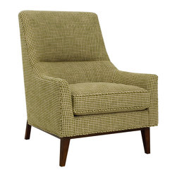 CR Laine - Hans Chair - The Hans chair lends the sophisticated interior retro refinement. Atop an unconventional wooden frame, the chic seat's mod silhouette exudes mid-century style savvy. Shown in Joel Pine; Available in a variety of fabric and finish options; Hand crafted in the USA using sustainable materials; Kiln-dried frames made from responsibly harvested hardwood; Water-based wood adhesive with no VOC emissions; Seat deck and trim pad made from 80% regenerated fibers; Cushion cores made from at least 10% natural plant-based ingredients