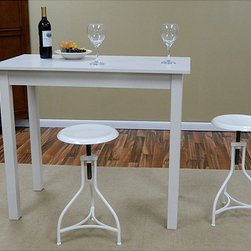 None - Antique White Pavina Pub Bar Table - Our Pavina Pub bar table provides extra counter space in a small kitchen and a great place for morning coffee. This table's strong, simple lines and compact size make it perfect for areas where floor space is limited.