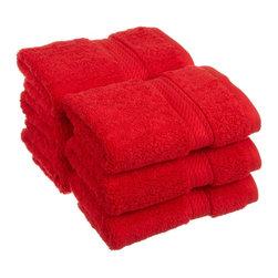 Luxurious Egyptian Cotton 900 Gram 6-Piece Red Face Towel Set - Luxurious Egyptian Cotton 900GSM 6pc Red Face Towel Set