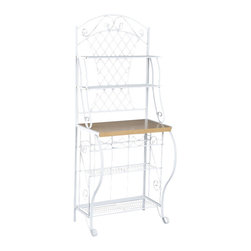 "Holly & Martin - Holly & Martin Atlanta Baker's Rack - This pretty white iron baker's rack with attached wine rack will work beautifully in a breakfast nook, sunroom, or casual dining space.  Its light and airy appearance and practical or decorative storage makes it a fine addition to your home.  Quality materials and scrolling metalwork finish off this lovely piece.  Organize your kitchen with this steel frame bakers rack.  With wine bottle storage included, this bakers rack is not only attractive, but functional as well. * Wine Bakers Rack. Powder coated white finish  . Holds 5 bottles of wine     . 5 shelves. Metal construction with oak laminate counter                                                     . Counter - 27"""" W x 16"""" D x 33"""" off floor                                                             . Counter has 12.5"""" of space below upper shelf                                                        . Bottom shelf - 26"""" W x 11"""" D x 12"""" storage height                                                   . Under counter shelf - 26"""" W x 8.5"""" D x 7.75"""" storage height                                         .  Above counter shelf - 27"""" W x 8.5"""" D x 9"""" storage height                                            . Top shelf - 27"""" W x 8.5"""" deep                                                                        . Assembly required      . 27.5 in. W x 16.5 in. D x 68 in. H (38 lbs.)Crafted for style and function, this country chic bakers rack is a welcome addition to any kitchen. Constructed of metal for durability, the frame contains many ornate details such as the scrolled legs, shelf braces, and decoration. The top edge has a decorative arch with leaf accents that sits atop the attractive trellis back. This lovely bakers rack has 4 wire shelves, a 5 bottle wine rack and an ample counter space for all your storage needs."