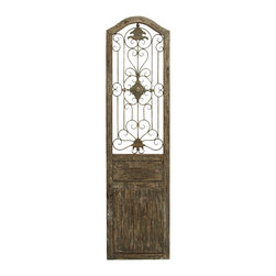 Benzara - Garden Style Wooden Door With Scrolling Ironwork - This door is made with a unique garden gate styled floral center and scrolling ironwork that meanders out from it. The plaque is made into the shape of an old fairy tale style door, adding a beautiful and rustic quality anywhere you hang it. Ideally hung in a beautiful backyard garden or patio for a fairy tale escape.