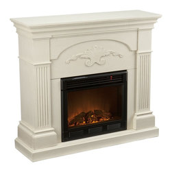 "Holly & Martin - Holly & Martin Salerno Electric Fireplace-Ivory X-81-6-320-312-73 - Finished with a lovely ivory color, the elegance of this fireplace is ideal for enhancing your home's cozy appeal. Fluted columns on each side and a decorative scroll appliqu&#233: create one beautiful home accent. All of your guests are sure to marvel at such a wonderful centerpiece. Portability and ease of assembly are just two of the reasons why our fireplace mantels are perfect for your home. The firebox has realistic, multicolor flickering flames and glowing embers with an interior brick design for a more lifelike look.  This electric fireplace features energy efficient LED and requires no professional installation, making it a cost effective way to upgrade your living or media room. Easy to use remote control offers 4-way adjustability to warm the room conveniently. Safety features include automatic shutoff and glass that remains cool to the touch. Turn off the heat to enjoy the fireplace ambience year round!  - FEATURES:                                                                                             - Accommodates a flat panel TV up to 42.75"" W overall                                                   - Ivory finish                                                                                          - PRODUCT SPECIFICATIONS:                                                                               - Approx. weight: 100 lb.                                                                               - Supports up to: 85 lb. (mantel)                                                                       - Materials: poplar, MDF, veneer, metal, glass, resin                                                   - Assembly required                                                                                     - Overall: 44.75"" W x 14"" D x 40.25"" H                                                                    - FIREBOX:                                                                                              - Lifelike multicolor flames and burning logs with embers                                               - Remote control adjusts thermostat, timer, logs, and flames separately with ease                       - Supplemental heat for up to 400 square feet                                                           - Classic brick style interior and optional down light illumination                                     - Safe, self-regulating heater turns off when desired temperature is met                                - Conveniently plugs into standard wall outlet with 6' cord                                             - Long life, energy efficient LED bulbs                                                                 - Glass remains cool to the touch                                                                       - Use without heater for year round enjoyment                                                           - Once powered off, logs and flames slowly turn down                                                    - Firebox front: 23"" W x 20"" H                                                                          - Temperature ratings: 62-82 degrees at 4 degree intervals                                              - Heating/power: 120V/60Hz, 1500W, 12.5 Amps                                                            - Batteries: 1 CR2025, included"