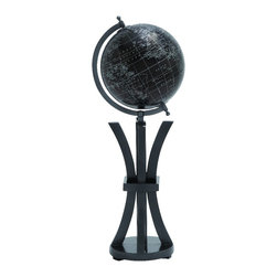 Benzara - Contemporary Globe White Mapping Black Surface Mounted Home Decor 24856 - Contemporary style globe with white mapping on black surface mounted on elegant floor stand home display decor