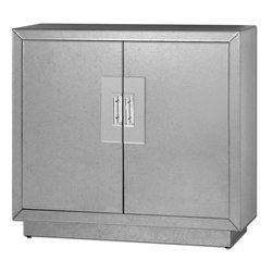 Uttermost - Andover Mirrored Cabinet - Antiqued Mirror Facets With Chrome Door Pulls. Black Interior Has An Adjustable Shelf. Matching Mirror Is Item #8076.