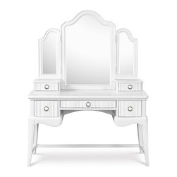 Magnussen - Magnussen Gabrielle Desk with Vanity Tri-Fold Mirror in Snow White - The Gabrielle Desk with Vanity Tri-Fold Mirror set is made from hardwood solids in a snow white finish and features serpentine lines, faux diamond ring pull hardware, a shaped case front and a scalloped apron. The vanity includes two side drawers for miscellaneous storage and one drop-front center drawer that can be used for storing a laptop or media and handheld devices. The coordinating tri-fold mirror has two additional drawers that rest on the vanity top for convenient and accessible storage of hair ties, jewelry and the other accessories. Add the upholstered side chair from the same collection for a coordinated set.
