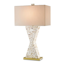 Currey & Co - Currey & Co 6058 Humoresque White Hammer Shell Table Lamp - 1 Bulb, Bulb Type: 150 Watt Type A; Weight: 11lbs