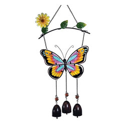 GWC - 14 Inch Butterfly and Flower Stained Glass Hanger, Yellow/Orange - This gorgeous 14 Inch Butterfly and Flower Stained Glass Hanger, Yellow/Orange has the finest details and highest quality you will find anywhere! 14 Inch Butterfly and Flower Stained Glass Hanger, Yellow/Orange is truly remarkable.