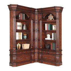 Parker House - Parker House Versailles 2-Piece Museum Corner Bookcase in Dark Almond - Since 1946, Parker House has taken great pride to produce quality furniture while still keeping customer satisfaction a number one priority. As a family owned and operated company, Parker House has been able to stay true to their commitment by manufacturing solid wood furniture in a variety of rich finishes, accented with fine, exquisite details. Choose between a selection of unique collections of furniture ranging from entertainment centers, home office furniture, library walls, and media centers. Parker House exemplifies quality workmanship and materials with stunning beauty, ensuring that these furniture pieces will becomes fixtures in your household for generations to come.